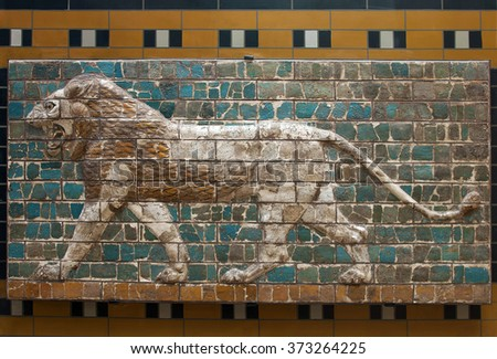 ISTANBUL TURKEY - MAY 07, 2007: Lion on Babylonian mosaic, fragment of the Ishtar Gate in Istanbul, Turkey