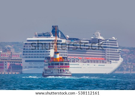 ISTANBUL, TURKEY - MAY 02, 2012: Luxury cruise ship in Bosporus