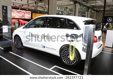 ISTANBUL, TURKEY - MAY 21, 2015: Mercedes Benz A Class Electric car in Istanbul Autoshow 2015