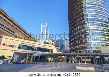 Istanbul, Turkey - May 24, 2016: Modern district of Levent, Istanbul. Levent is a financial center of the city with skyscrapers, shopping malls and business offices.