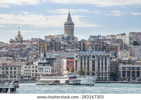 ISTANBUL, TURKEY - MAY 30, 2015: Panoramic Istanbul. View on Galata Tower and Istanbul landscape.