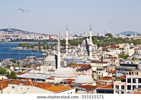 ISTANBUL, TURKEY - MAY 13, 2015: Scenery of the Eminonu district in the city of Istanbul in Turkey with  two mosques, top view