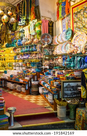 ISTANBUL, TURKEY - MAY 05: The Grand Bazaar, considered to be the oldest shopping mall in history with jewelry,carpet, leather, gift, spice and souvenir shops. may 05, 2014 in Istanbul, Turkey.