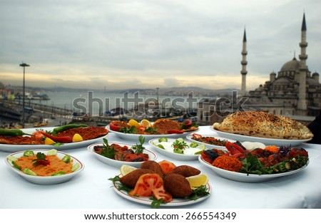 ISTANBUL, TURKEY - MAY  24: Turkish food dishes Eminonu square on May 24, 2006 in Istanbul, Turkey. - stock photo
