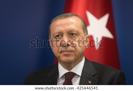 ISTANBUL, TURKEY - May 23, 2016: Turkish President Recep Tayyip Erdogan during World Humanitarian summit in Istanbul