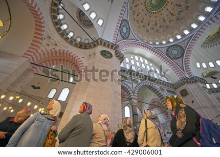 ISTANBUL, TURKEY - MAY 15: Unidentified people visiting of Suleymaniye Mosque on May 15, 2016 in Istanbul, Turkey. - stock photo