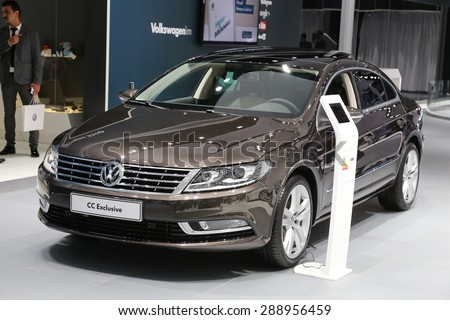 ISTANBUL, TURKEY - MAY 30, 2015: Volkswagen Passat CC Exclusive in Istanbul Autoshow 2015