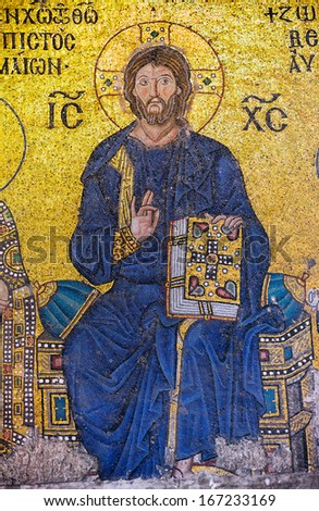 ISTANBUL, TURKEY - NOV 20: A Byzantine mosaic showing Jesus Christ is sitting on a throne decorated with jewels, from the 12th century, Hagia Sophia on November 20 in Istanbul 2013, Turkey - stock photo