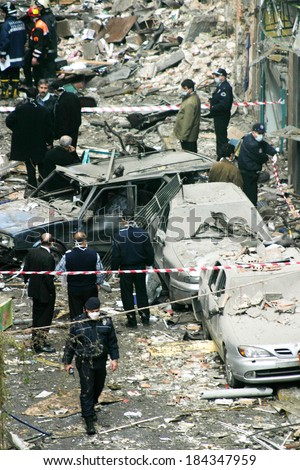 ISTANBUL, TURKEY - NOVEMBER 15: After terror attack and bomb explosion in Neve Shalom synagogues on November 15, 2003 in Istanbul, Turkey. Killing 27 people in the synagogues.