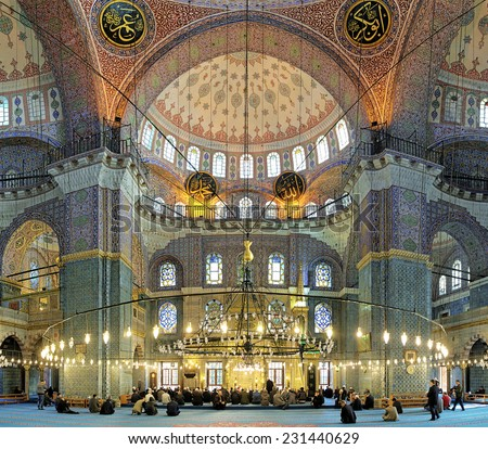 ISTANBUL, TURKEY - NOVEMBER 12, 2014: Interior of Yeni Mosque (New Mosque). Yeni Mosque is an Ottoman imperial mosque located in the Eminonu quarter, it was built in 1597-1663 and inaugurated in 1665. - stock photo