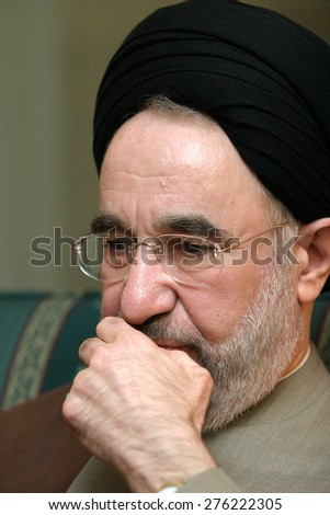 ISTANBUL, TURKEY - NOVEMBER 12: Iranian reformist politician and Shia theologian Mohammad Khatami on November 12, 2006, Istanbul, Turkey. He served as the fifth President of Iran from 1997 to 2005.