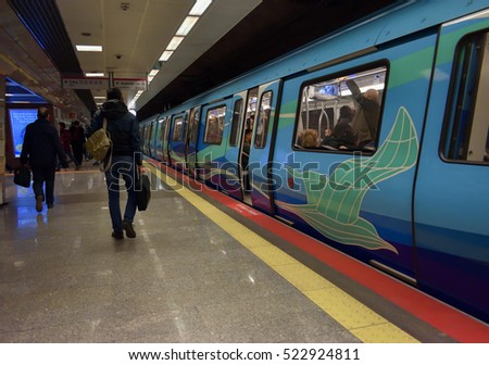 ISTANBUL, TURKEY - NOVEMBER 26, 2016 : Istanbul modern transport, metro station - The first subway line of anatolian side