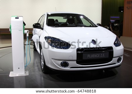 ISTANBUL, TURKEY - NOVEMBER 07: Renault Fluence Z.E. Concept at 13th International Auto Show on November 07, 2010 in Istanbul, Turkey. - stock photo