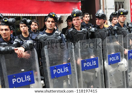 ISTANBUL, TURKEY - NOVEMBER 4: The police in Taksim, Istanbul is on alert to prevent the anti-government protests on November 4, 2012 in Istanbul, Turkey. - stock photo