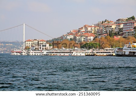 ISTANBUL, TURKEY - NOVEMBER 12, 2014: Uskudar ferry port on the Asian side of Bosphorus. Uskudar is a large and densely populated municipality with population more than half a million people. - stock photo