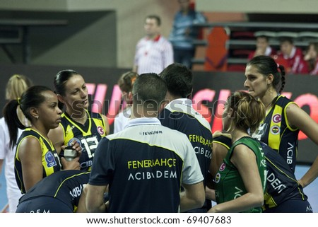 ISTANBUL, TURKEY - NOVEMBER 21 : World champion Fenerbahce women's volleyball team players gathers around the coach on  November 21, 2010 in Istanbul, Turkey