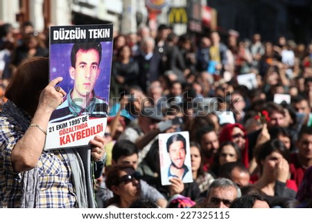 ISTANBUL,TURKEY-OCT 25: The mothers of people who have disappeared, mainly at the hands of the state, known as the Saturday Mothers, met for the 500th time on Oct 25th on October 25,2014 in Turkey. - stock photo