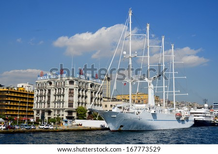ISTANBUL TURKEY OCT. 4:The msy Wind Spirit is a motor sailing yacht, sailing as a cruise ship for Windstar Cruises. on october 4 2013 in Istanbul Turkey - stock photo