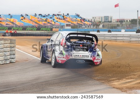 ISTANBUL, TURKEY - OCTOBER 11, 2014: Andreas Bakkerud drives Ford Fiesta ST of Olsbergs MSE Team in FIA World Rallycross Championship.