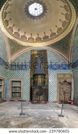 ISTANBUL, TURKEY - OCTOBER 1, 2014. Colorful Topkapi Palace decorated chambers, in Istanbul, Turkey. Arabic design to decorate the different rooms of the Palace, taken on october 1, 2014. - stock photo