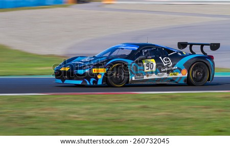 ISTANBUL, TURKEY - OCTOBER 25, 2014: Ezequiel Perez Companc drives Ferrari 458 Challenge EVO of Motor Piacenza Racing Team during Ferrari Racing Days in Istanbul Park Racing Circuit - stock photo