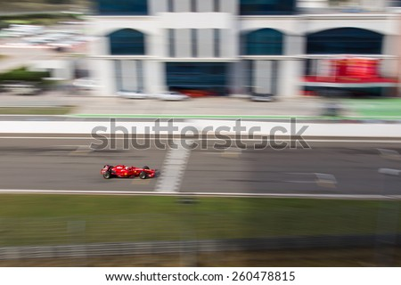 ISTANBUL, TURKEY - OCTOBER 25, 2014: F1 Car in F1 Clienti during Ferrari Racing Days in Istanbul Park Racing Circuit - stock photo