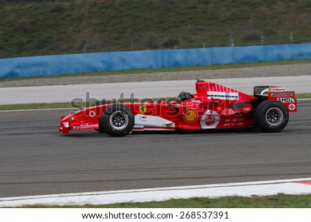 ISTANBUL, TURKEY - OCTOBER 26, 2014: F1 Car in F1 Clienti during Ferrari Racing Days in Istanbul Park Racing Circuit - stock photo