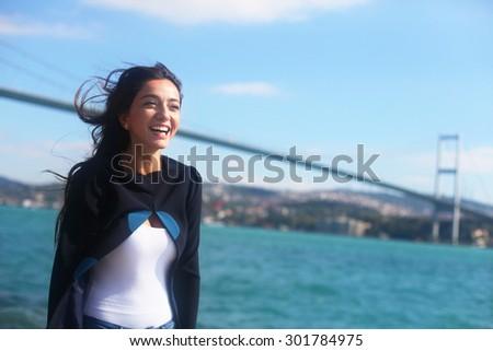 ISTANBUL, TURKEY - OCTOBER 19: Famous Turkish musician folk singer and actress Oyku Gurman portrait on October 19, 2011 in Istanbul, Turkey. - stock photo