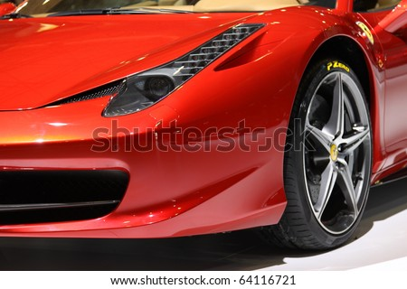 ISTANBUL, TURKEY - OCTOBER 30: Ferrari 458 Italia at 13th International Auto Show on October 30, 2010 in Istanbul, Turkey. - stock photo