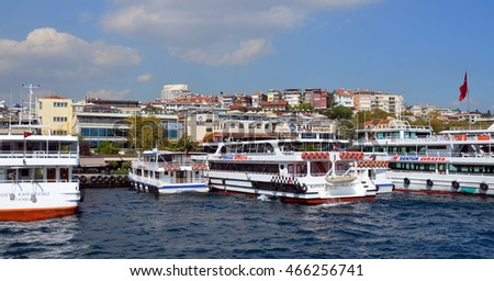 ISTANBUL,TURKEY OCTOBER 5: Harbor in Eminonu Port near Yeni Cami and Galata Bridge on OCT 5, 2013 in Istanbul,Turkey. The Eminonu waterfront is a major dock for ferryboats in Istanbul.