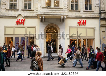 ISTANBUL, TURKEY - OCTOBER 02, 2015:HM Fashion Store in istanbul on OCTOBER 02, 2015 in Istanbul.HM is a clothing design and manufacturing company. - stock photo