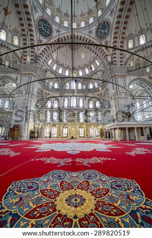 Istanbul, Turkey - October 28, 2014. Interior view of Fatih Mosque on October 28, 2014.