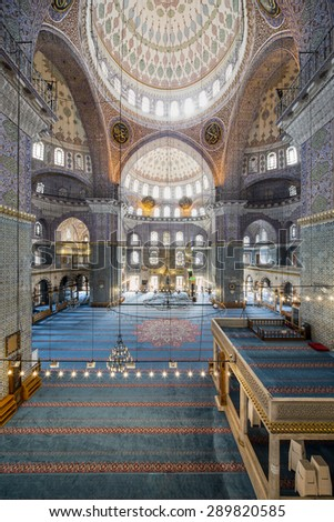 Istanbul, Turkey - October 10, 2014. Interior view of New Valide Mosque on October 10, 2014.