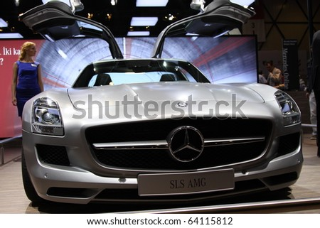 ISTANBUL, TURKEY - OCTOBER 30: Mercedes SLS AMG at 13th International Auto Show on October 30, 2010 in Istanbul, Turkey.