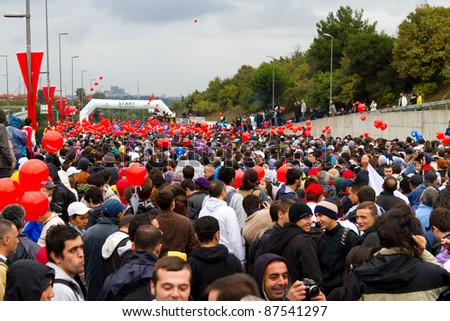 ISTANBUL, TURKEY - OCTOBER 16 : People pass Asia to Europe in 33nd Intercontinental Istanbul Eurasia Marathon on October 16, 2011 in Istanbul, Turkey.