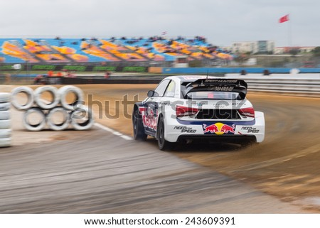 ISTANBUL, TURKEY - OCTOBER 11, 2014: Per Gunnar Andersson drives Audi S1 of EKS Team in FIA World Rallycross Championship.