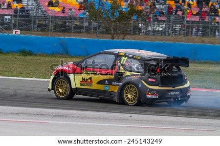 ISTANBUL, TURKEY - OCTOBER 11, 2014: Petter Solberg drives Citroen DS3 of Petter Solberg World RX Team in FIA World Rallycross Championship. - stock photo