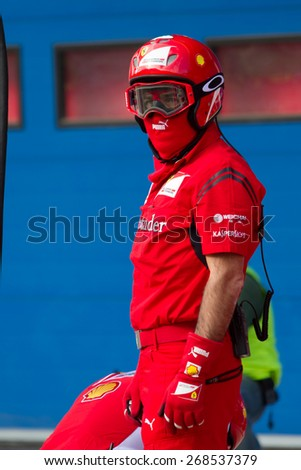 ISTANBUL, TURKEY - OCTOBER 26, 2014: Pit stop crew of Formula 1 car in Ferrari Racing Days in Istanbul Park Racing Circuit - stock photo