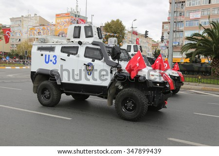 ISTANBUL, TURKEY - OCTOBER 29, 2015: Police vehicle in Vatan Avenue during 29 October Republic Day celebration of Turkey