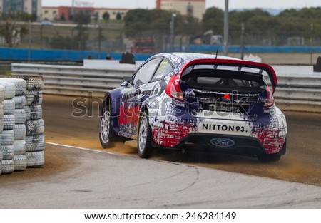 ISTANBUL, TURKEY - OCTOBER 12, 2014: Richard Goransson drives Ford Fiesta ST of Olsbergs Team in FIA World Rallycross Championship. - stock photo