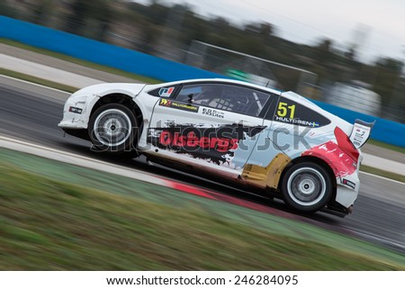 ISTANBUL, TURKEY - OCTOBER 12, 2014: Sandra Hultgren drives RX Lites of OlsbergsMSE Team in FIA World Rallycross Championship. - stock photo