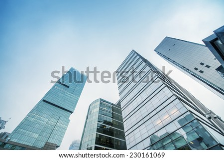ISTANBUL, TURKEY - OCTOBER 27: Skyscrapers and modern office buildings at Levent District. With Bosphorus background. October 27, 2014 in Istanbul, Turkey - stock photo
