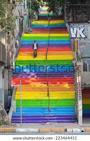 ISTANBUL, TURKEY - OCTOBER 2014: Steps linking the Istanbul neighborhoods of Cihangir and Findikli, which had attracted attention after being painted in rainbow colors by a local man