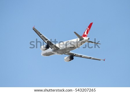 ISTANBUL, TURKEY - OCTOBER 08, 2016: Turkish Airlines Airbus A320-232 (CN 3341) takes off from Istanbul Ataturk Airport. THY is the flag carrier of Turkey with 334 fleet size and 292 destinations