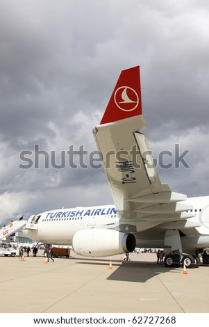 ISTANBUL, TURKEY - OCTOBER 3: Turkish airlines airplane Airbus A330, Topkapi on 8th international civil aviation and airports exhibition on Oct 3, 2010 in Istanbul, Turkey. - stock photo