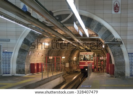 ISTANBUL, TURKEY - OCTOBER 14, 2015: View on the passenger car that crosses the ''Tunnel'', the underground railway line that connecting the quarters of Karakoy and Beyoglu in Istanbul, Turkey. - stock photo