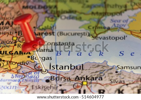 Istanbul Turkey Pinned Map Copy Space Stock Photo (Royalty Free ...