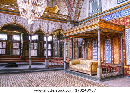 ISTANBUL,TURKEY- SEPT 28,2007: Beautifully decorated vintage audience hall of Sultan at Topkapi palace in Istanbul  - stock photo