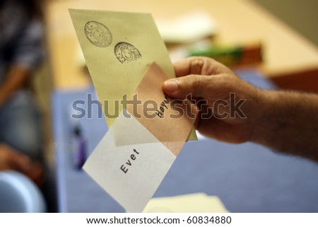 ISTANBUL, TURKEY - SEPT 12: Turks began voting Sunday morning in a national referendum on a package of constitutional amendments. September 12, 2010 in Istanbul,Turkey.