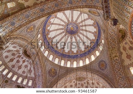 ISTANBUL, TURKEY - SEPTEMBER 29: Blue mosque indoor shot with restorated ceiling on September 29, 2011 in Istanbul. - stock photo